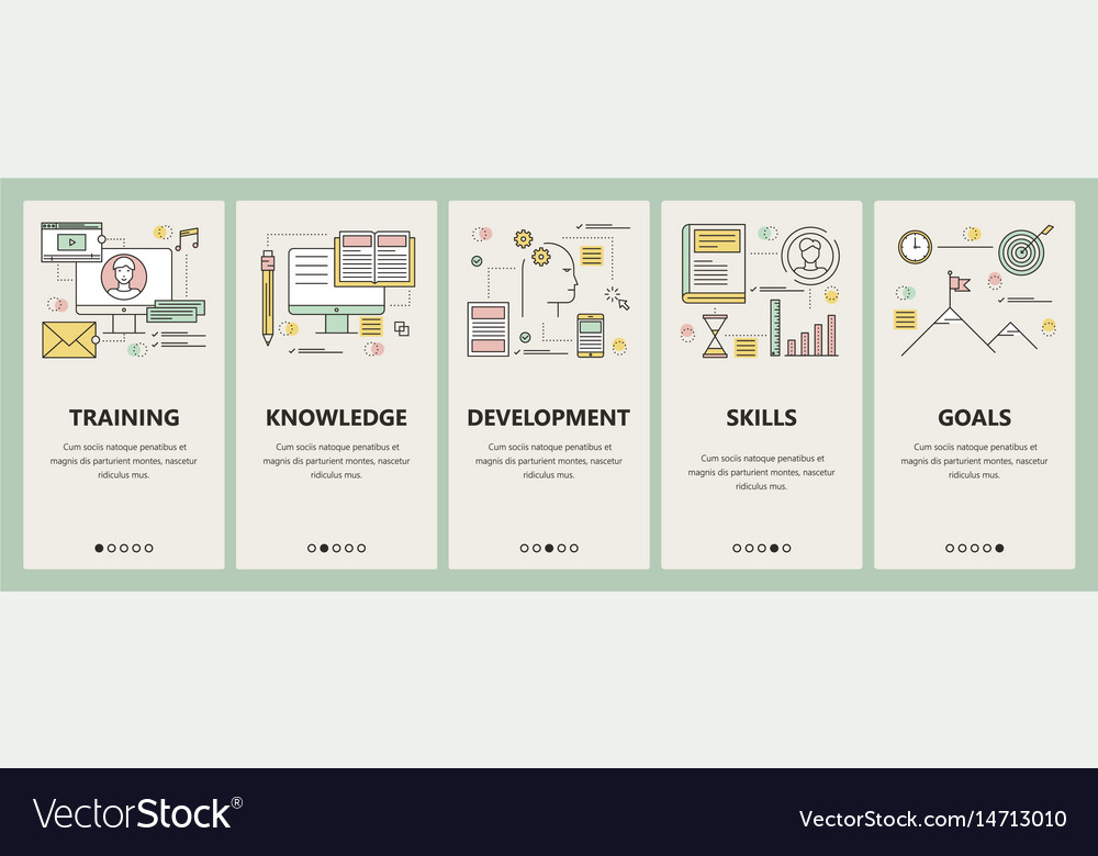 Thin line flat design coaching concept vector image