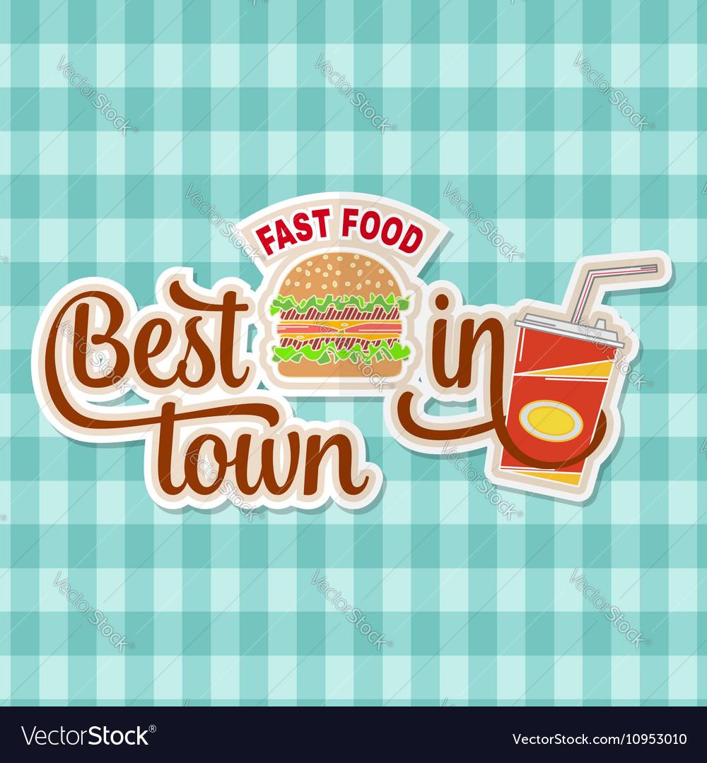 Vintage fast food badge banner or logo emblem