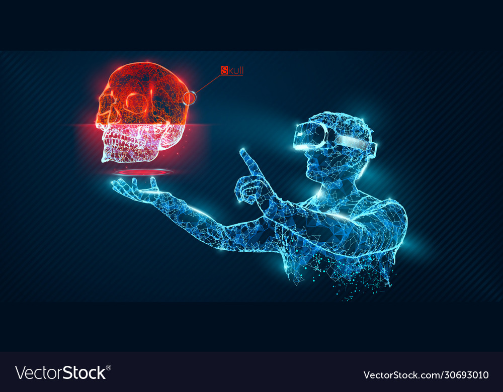 Vr wireframe headset man with skull banner