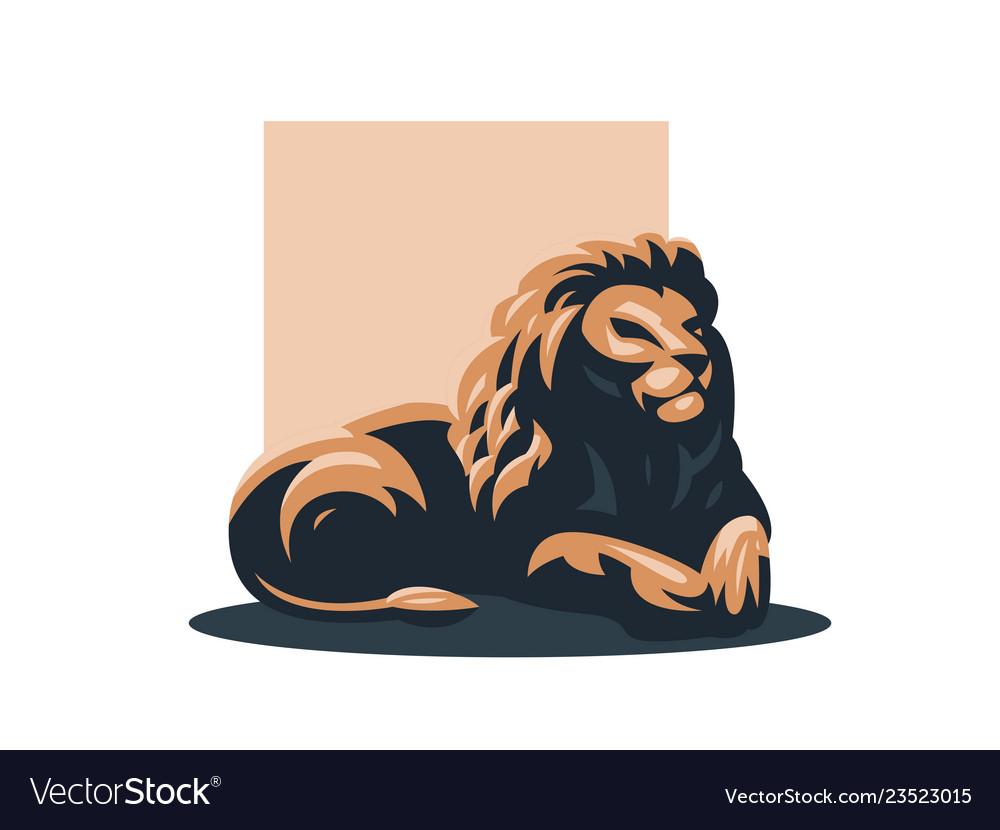 A lion lies