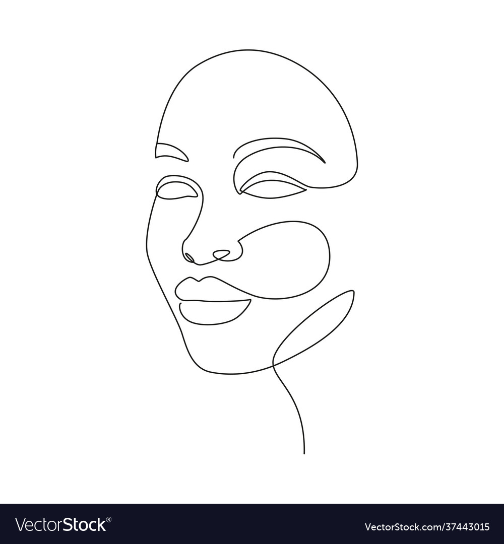 Beautiful women face in one line drawing style