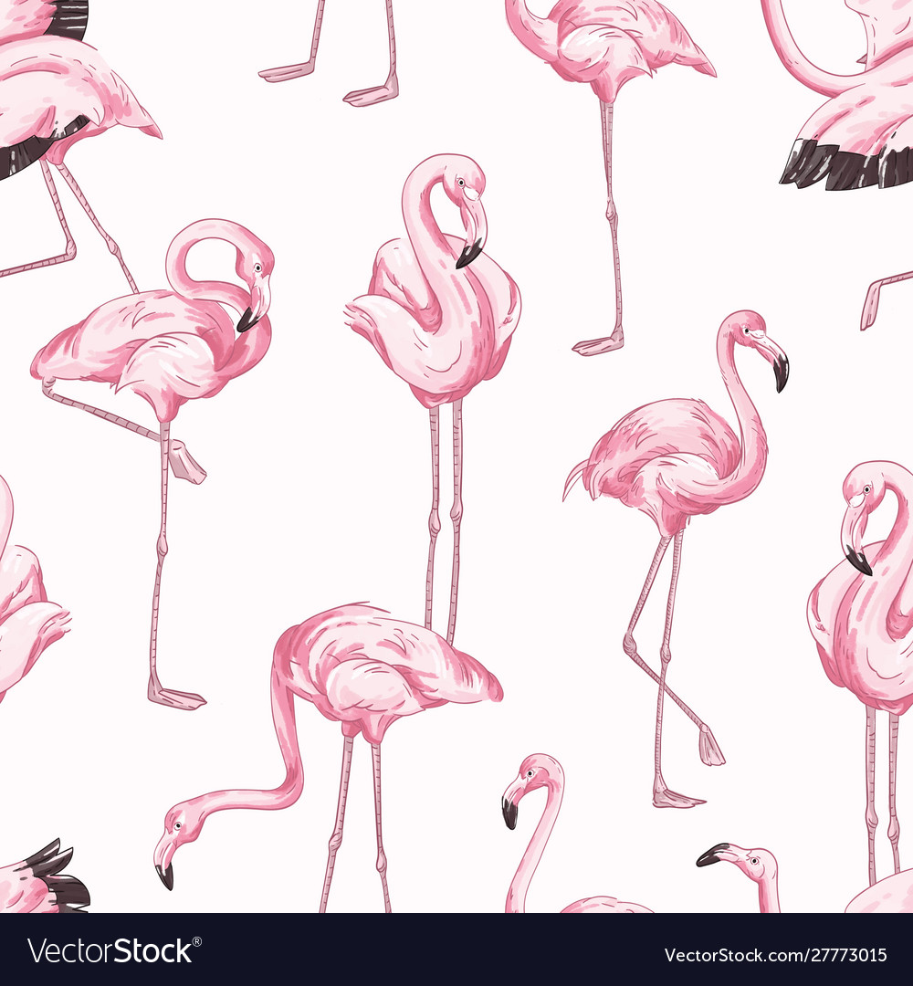 Colorful seamless pattern with pink flamingo hand
