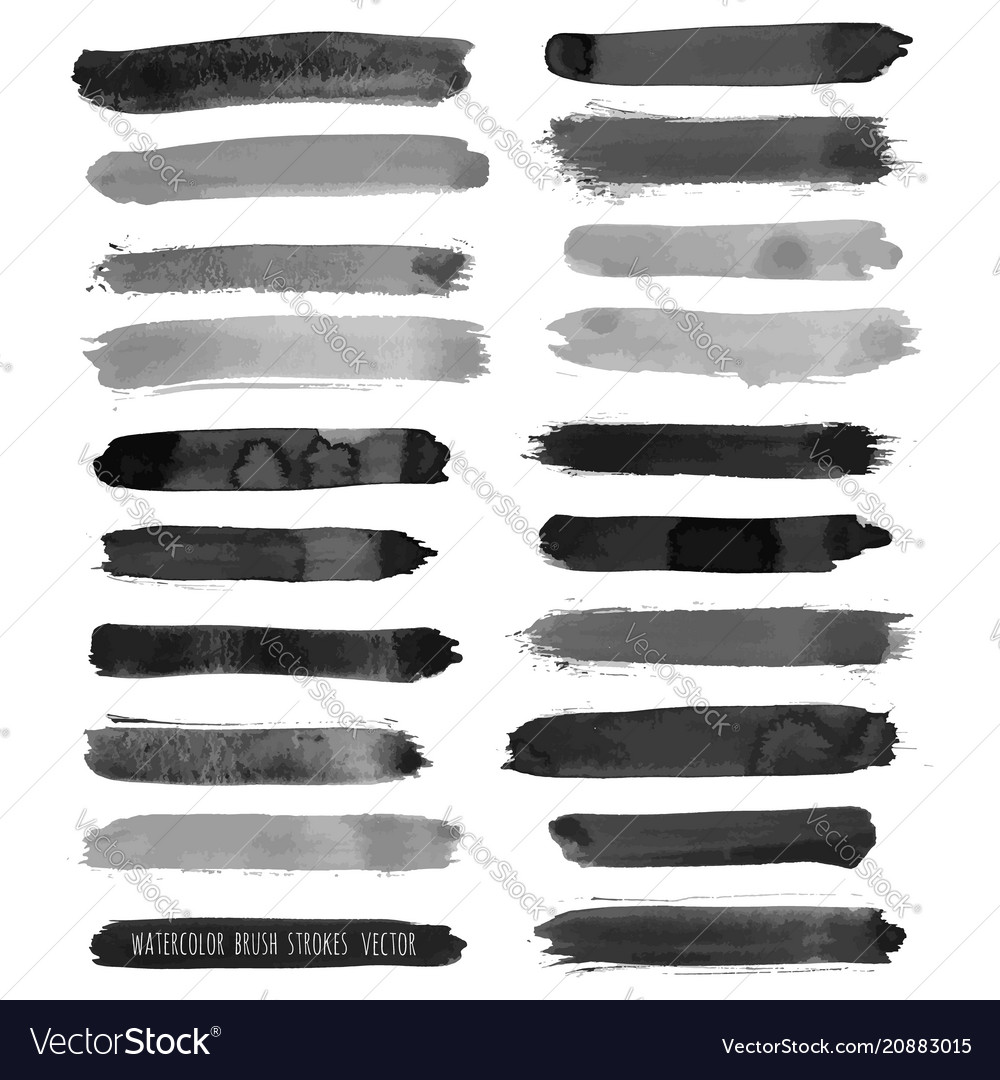 Dark black grunge watercolor ink texture set