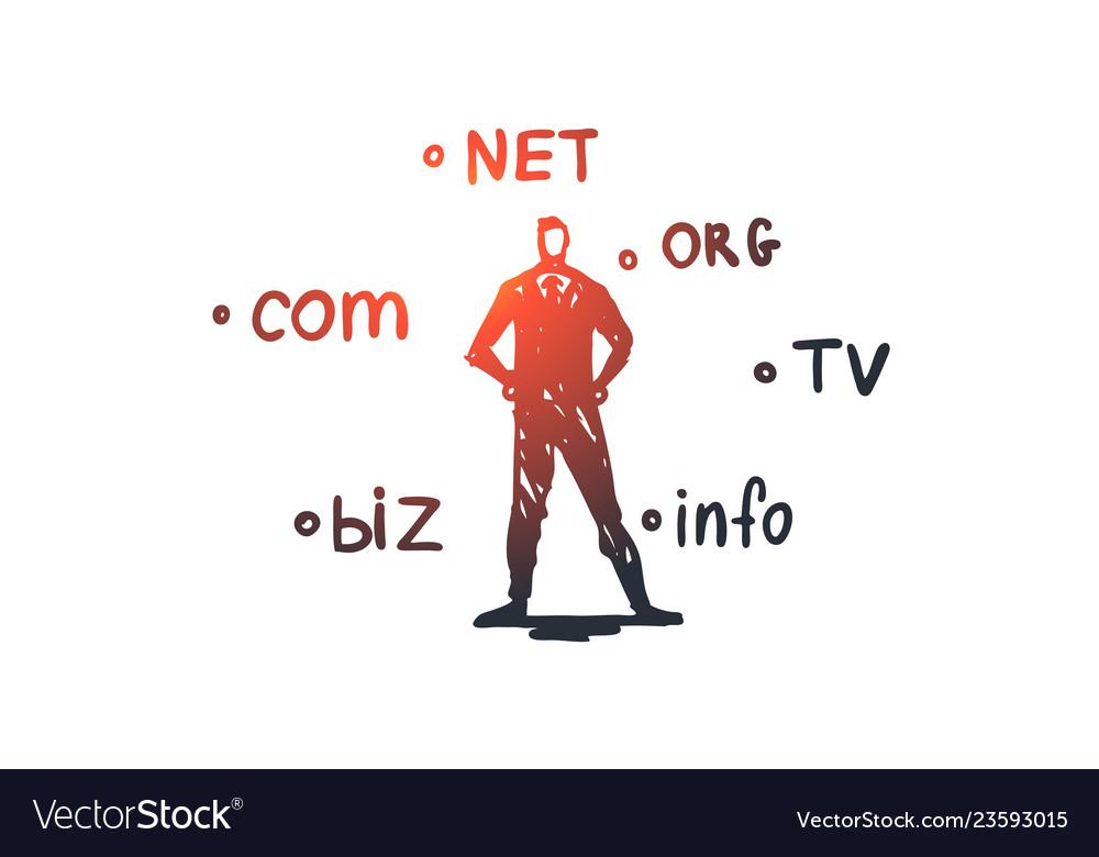 Domain internet name web hosting concept hand