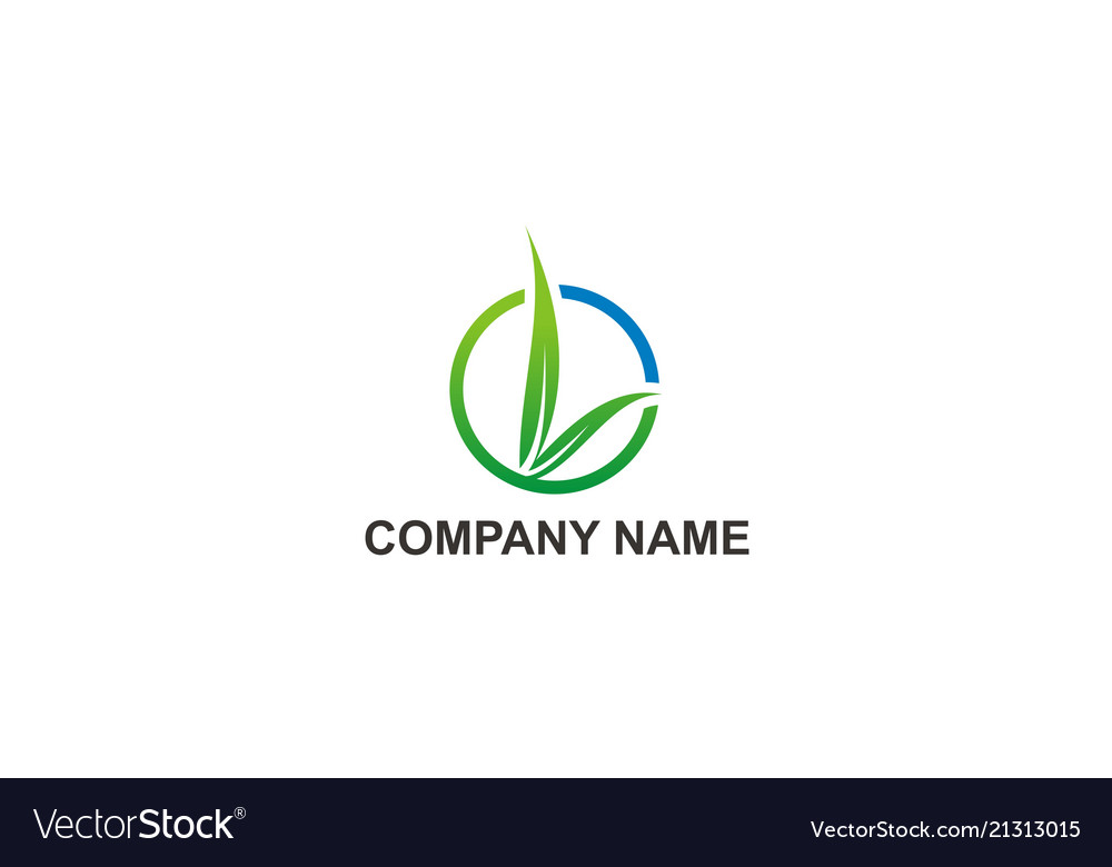 Green leaf organic round beauty company logo