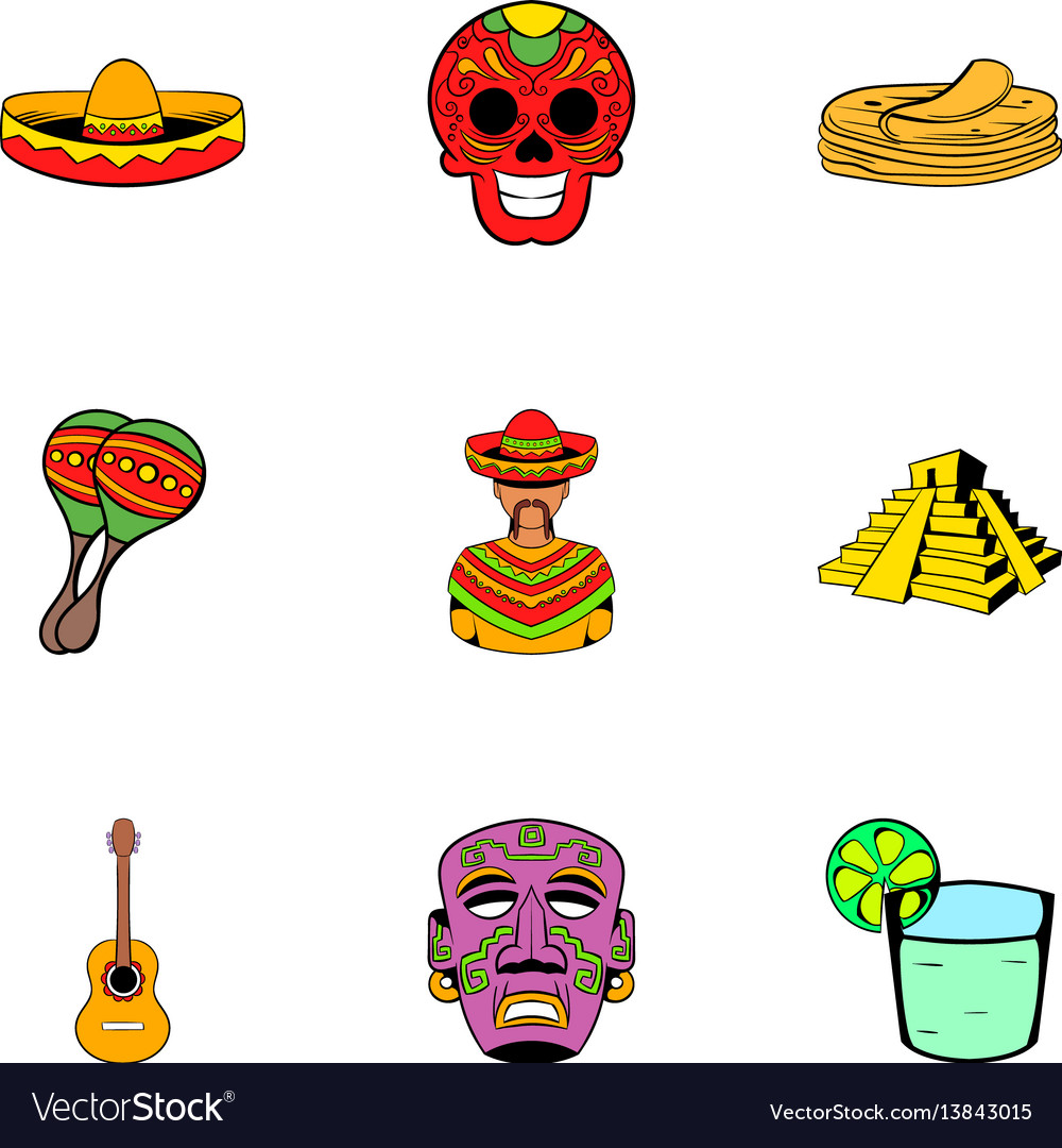Mexican culture icons set cartoon style