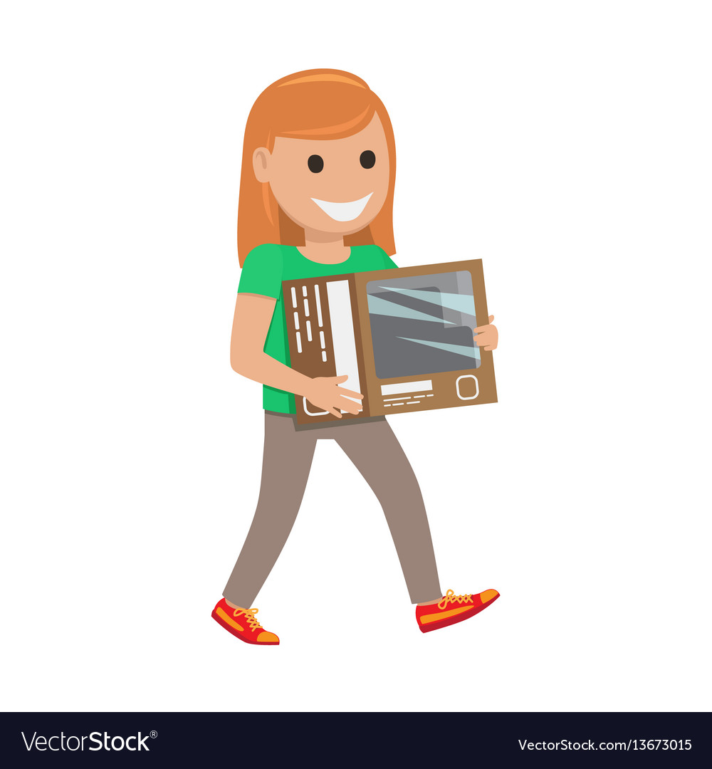Redhead girl with box shopping day
