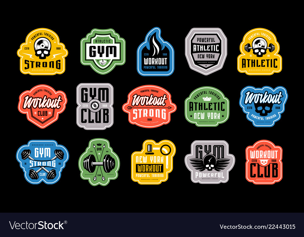 Set of emblems tags and logo for gym club
