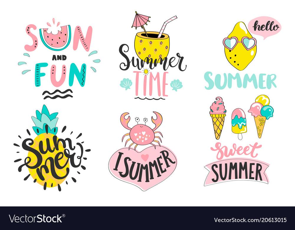 Set of summer handdrawn labelslogostagselements