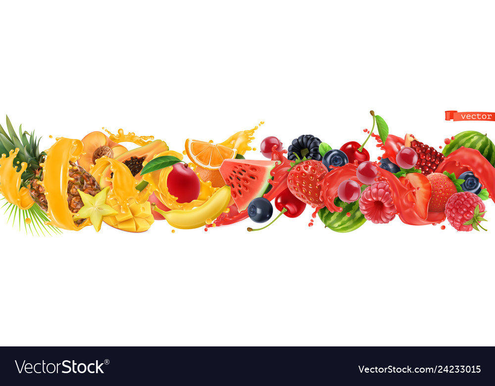 Sweet tropical fruits and mixed berries splash of