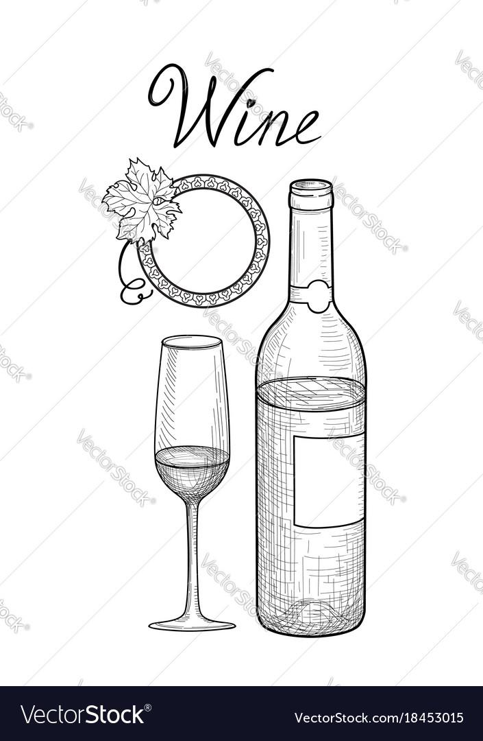 Wine set wine glass bottle grape branch