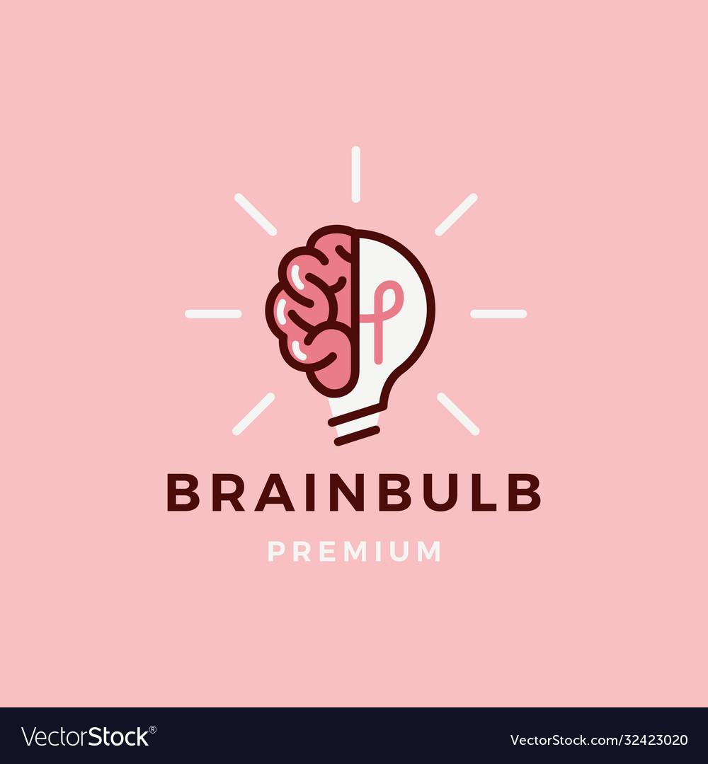 Brain lamp bulb logo icon