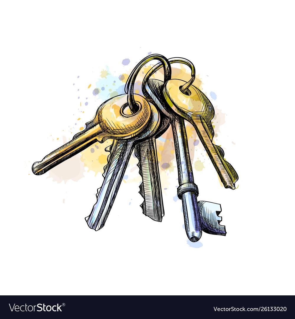 Bunch keys from a splash watercolor hand