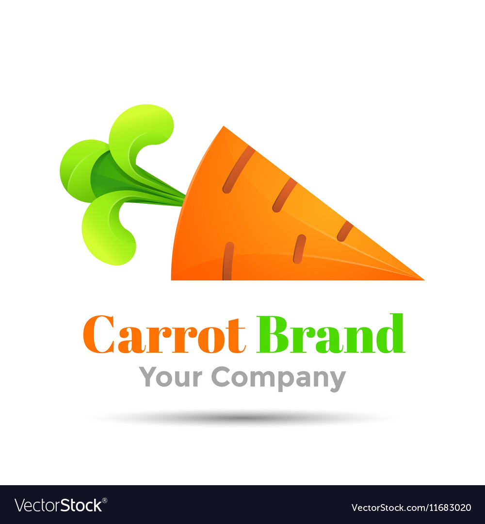 Carrot with green rabbit ears Colorful 3d Volume