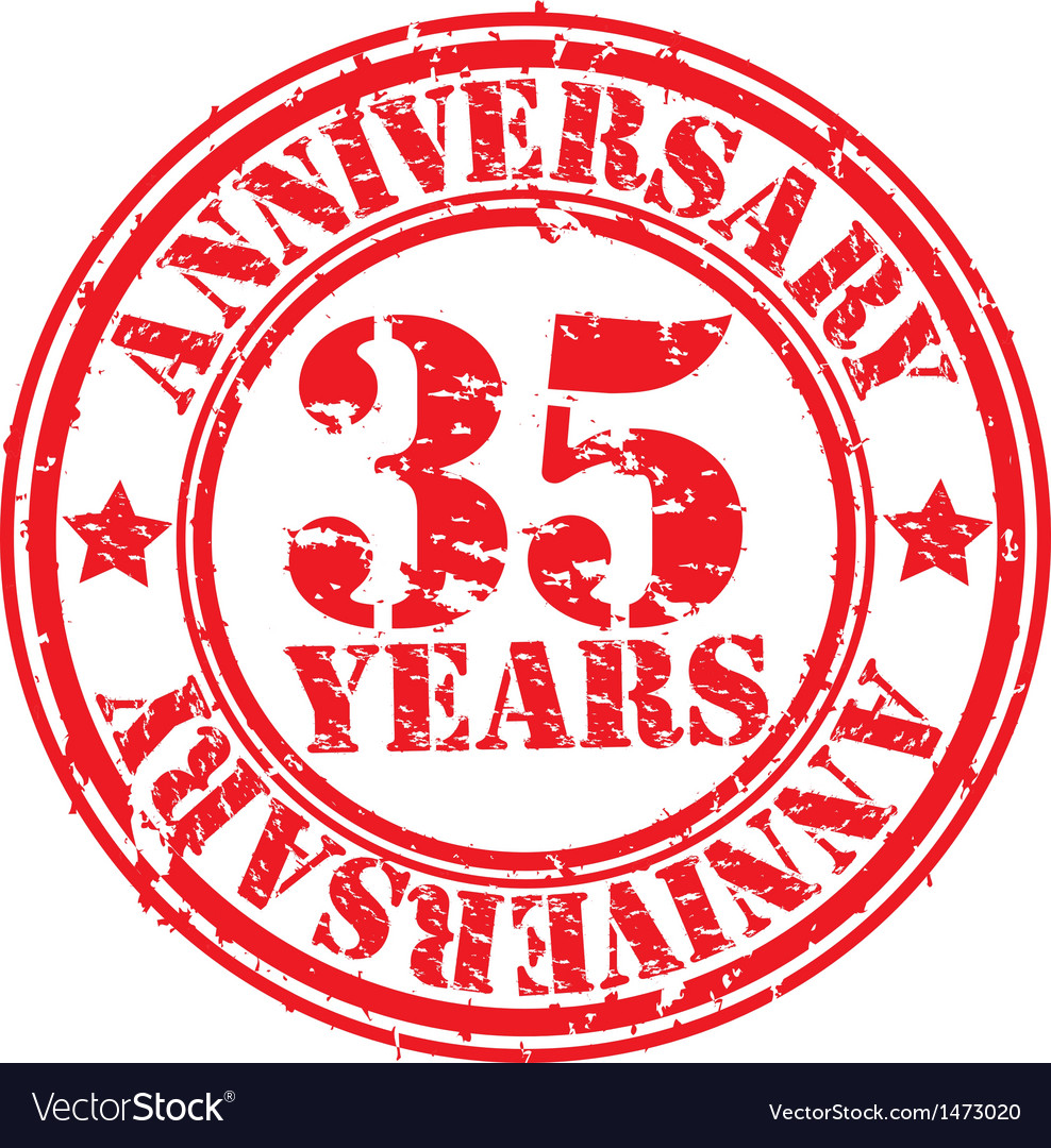 Grunge 35 years anniversary rubber stamp