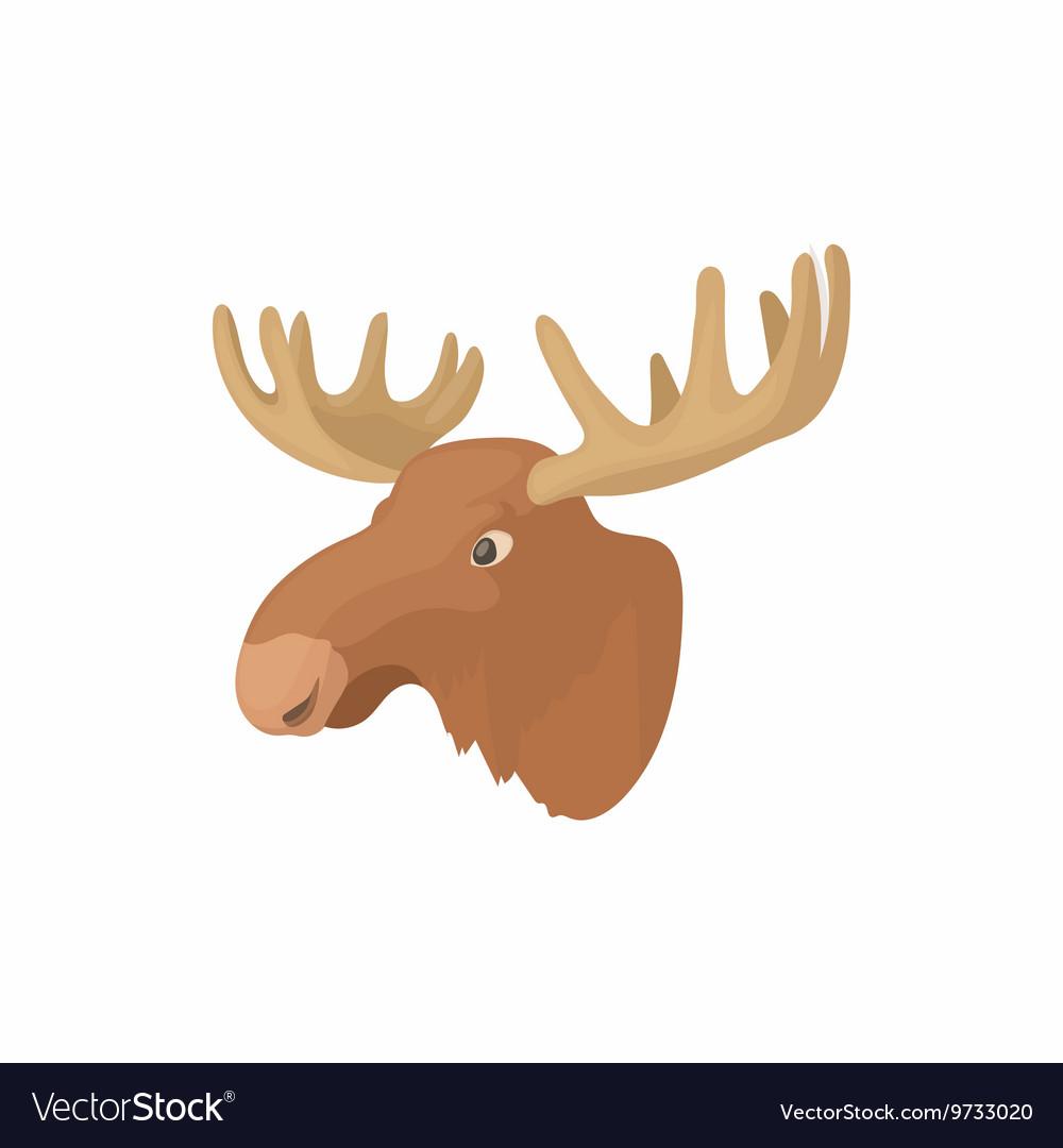 Head of elk icon cartoon style