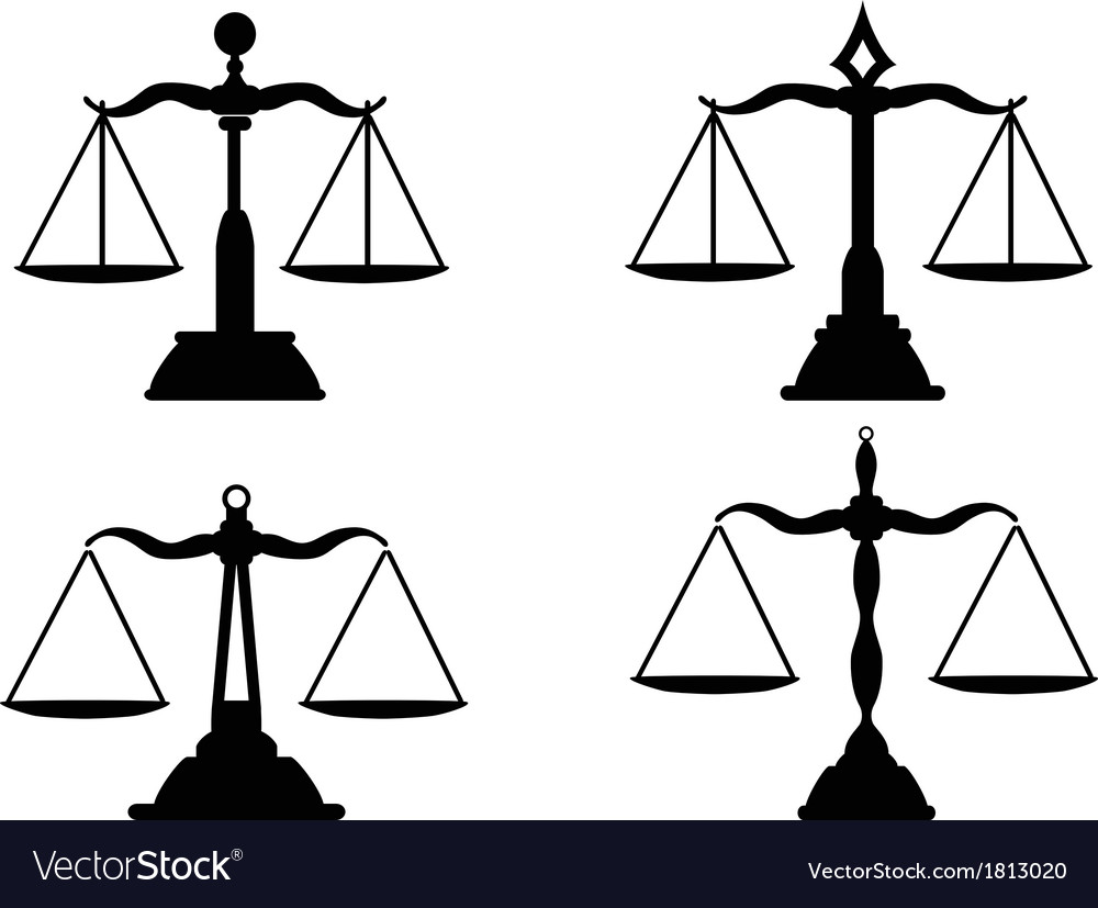 Justice scales silhouette vector image