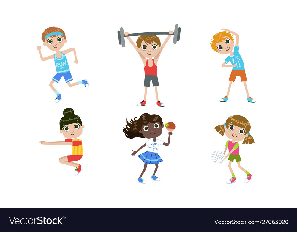 Kids doing different kind sports set boys and
