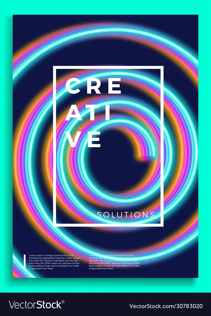 Neon poster retro design 80s sci-fi pattern
