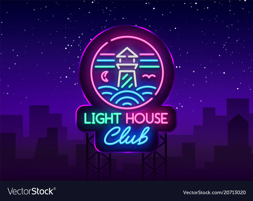 Night club lighthouse neon sign lighthouse logo
