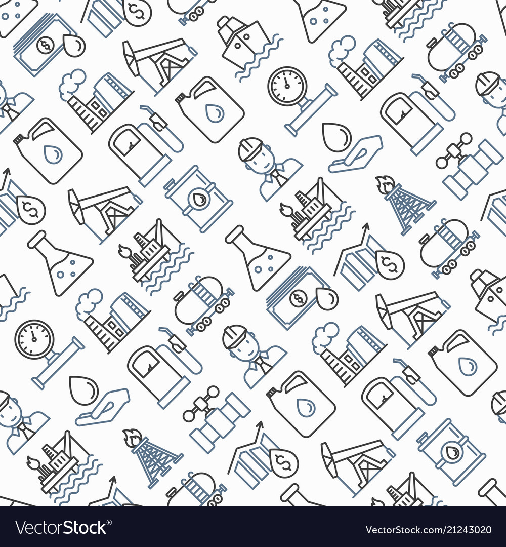 Oil industry seamless pattern with thin line icons