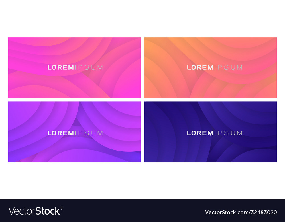 Set colorful gradient curve on white