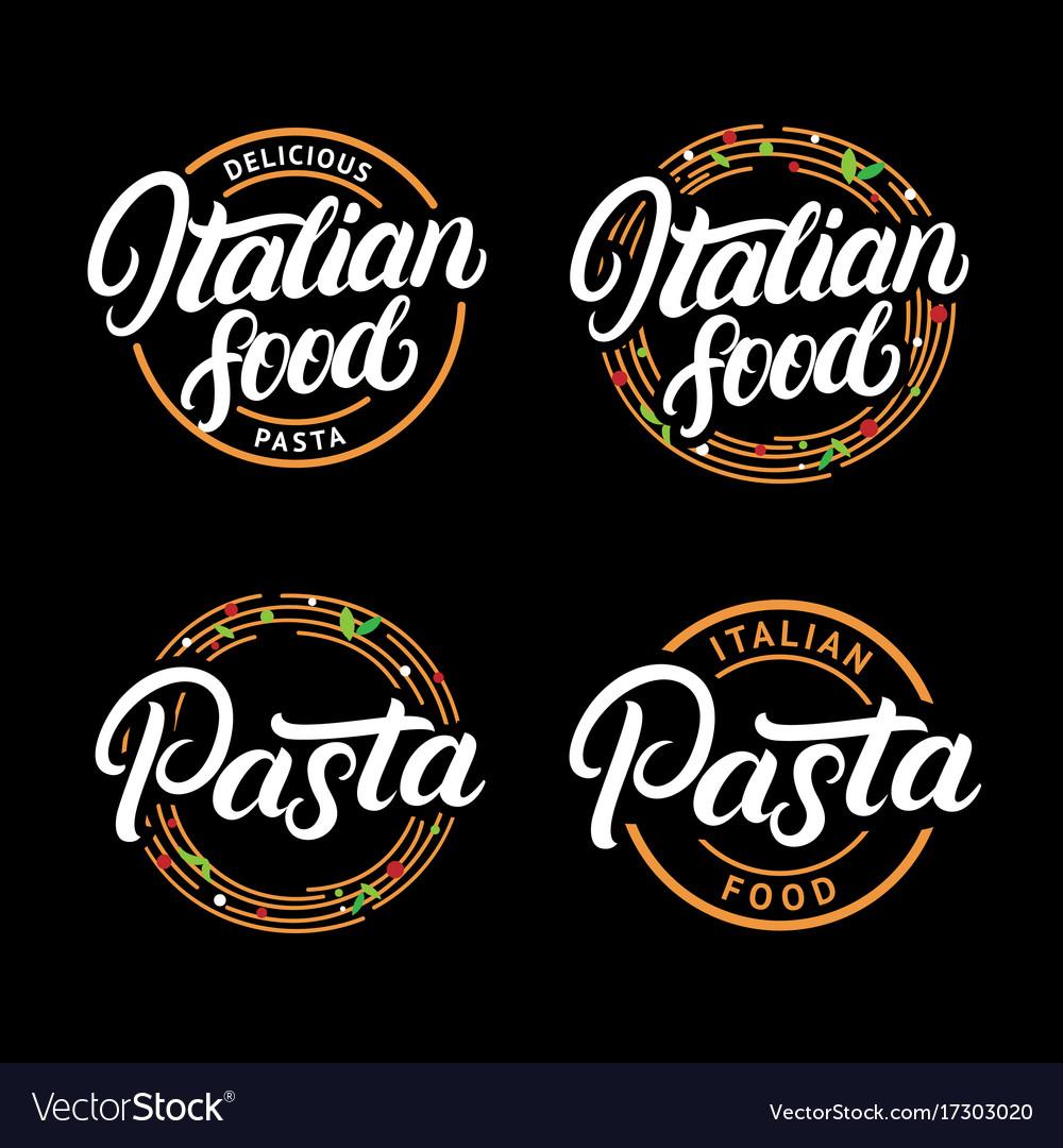 Set of italian food and pasta hand written