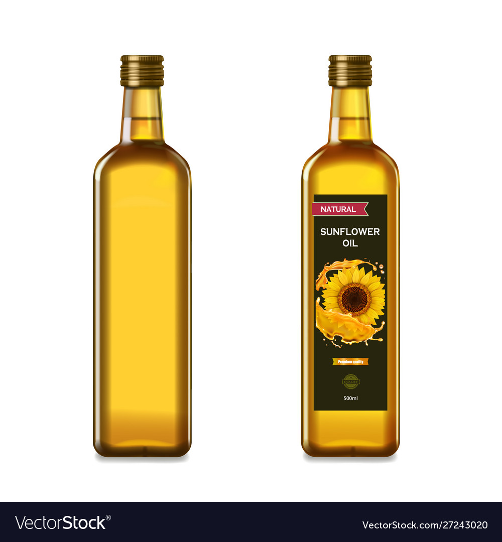 Sunflower oil in a glass bottles collection