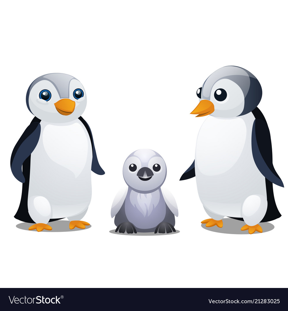 A set of fun animated penguins isolated on white