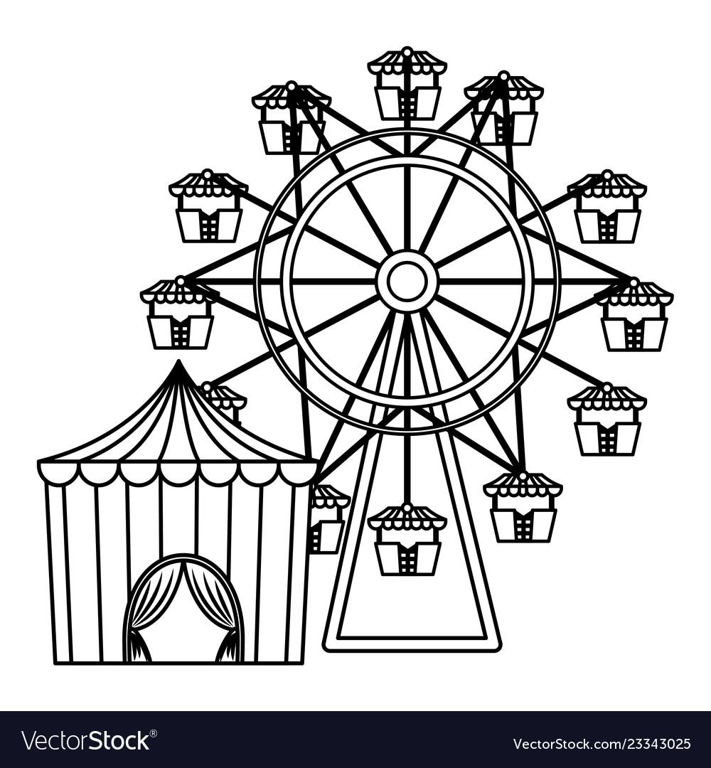 Circus tent with ring and wheel vector image  sc 1 st  VectorStock & Circus tent with ring and wheel Royalty Free Vector Image