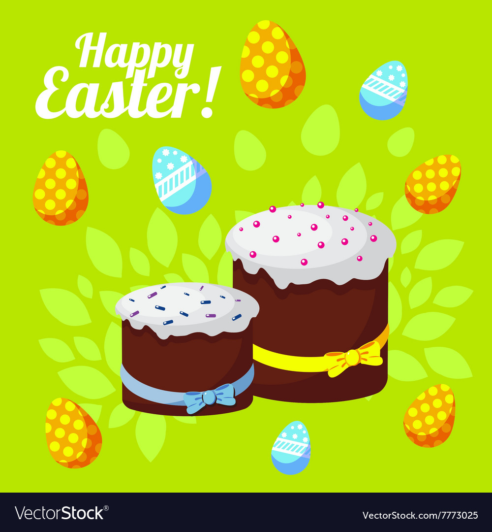 Easter greeting card with traditional cakes on a vector image m4hsunfo