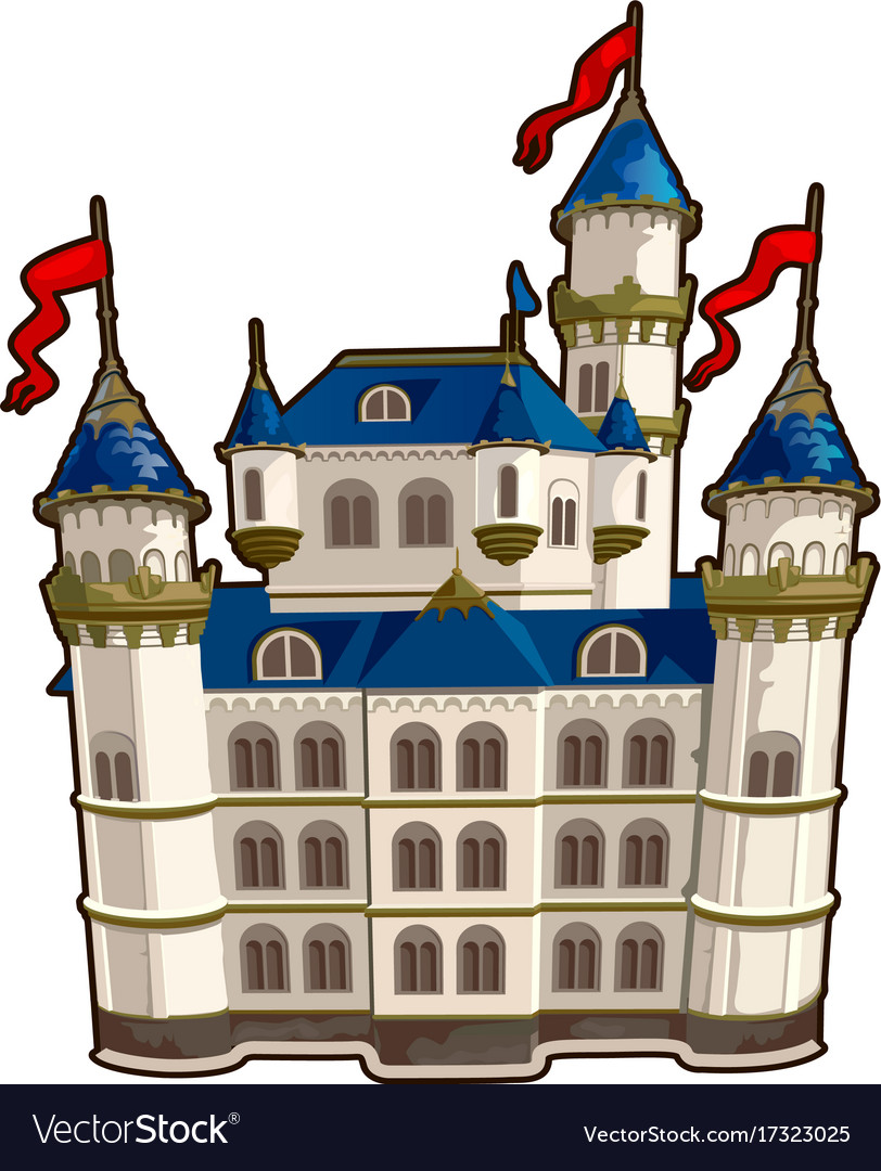 Fairytale castle with blue roof and red flags