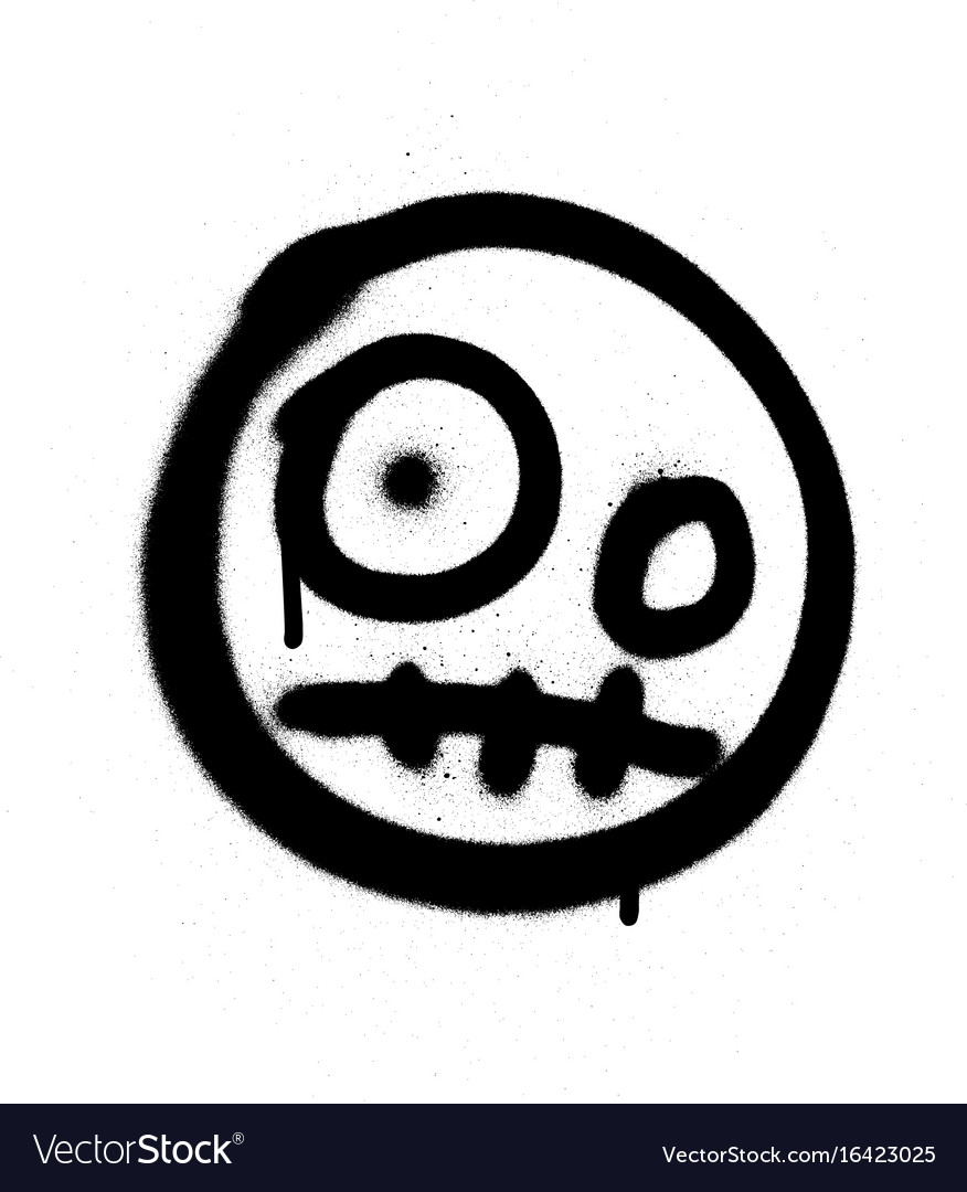 Graffiti scary emoji sprayed in black over white vector image