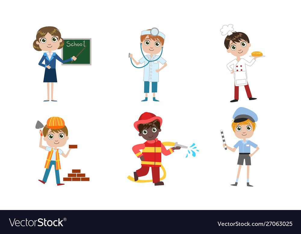 Kids different professions set teacher doctor