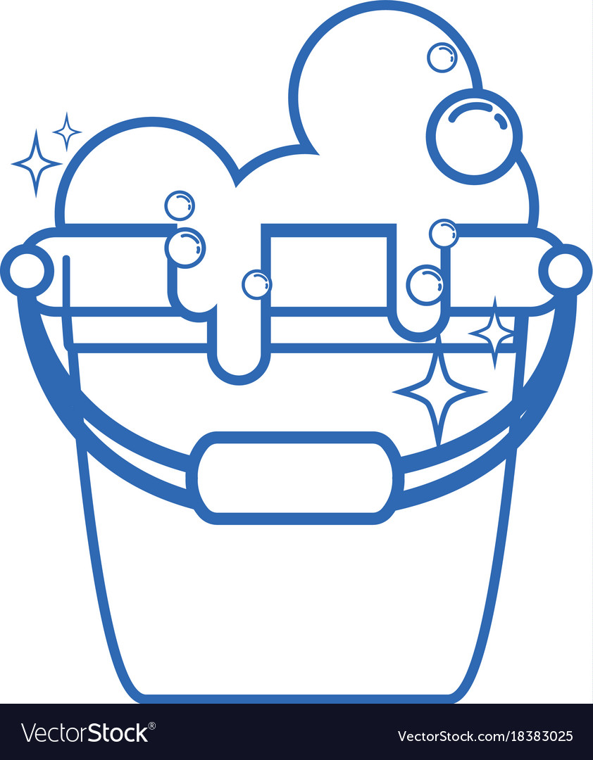 Line Laundry Pail With Detergent Bubbles To Clean Vector Image