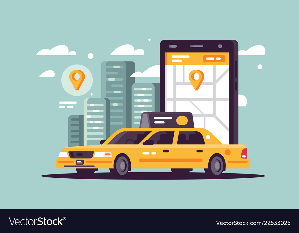 Modern taxi call using smartphone and online