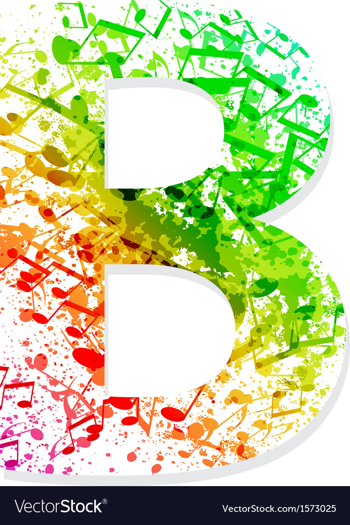 Music theme grungy font Letter B