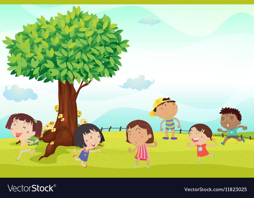 Six children running in park vector image