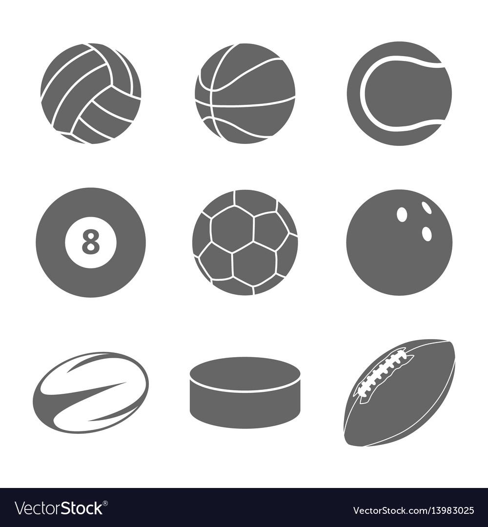 Sport balls icon set on white background vector image