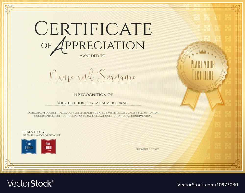 Certificate Template For Achievement Appreciation Vector Image