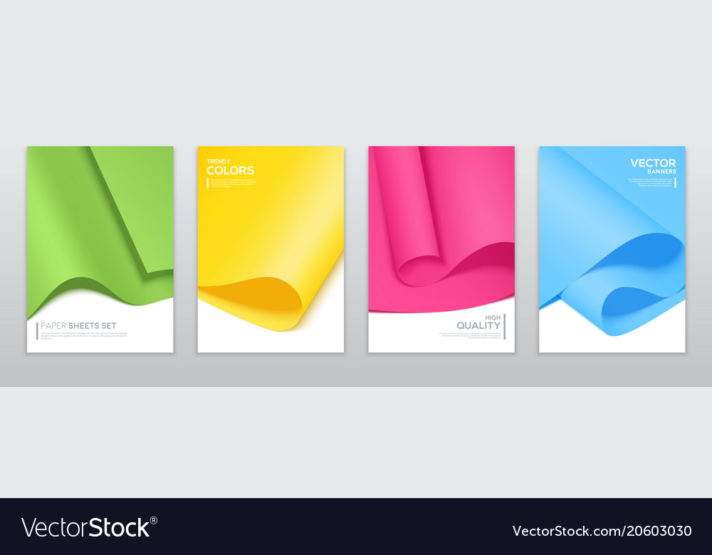 Colourful paper sheets brochure templates