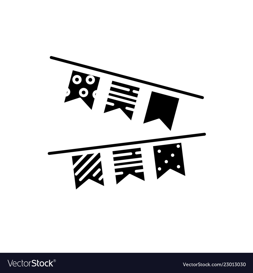 Decoration flags black icon sign on