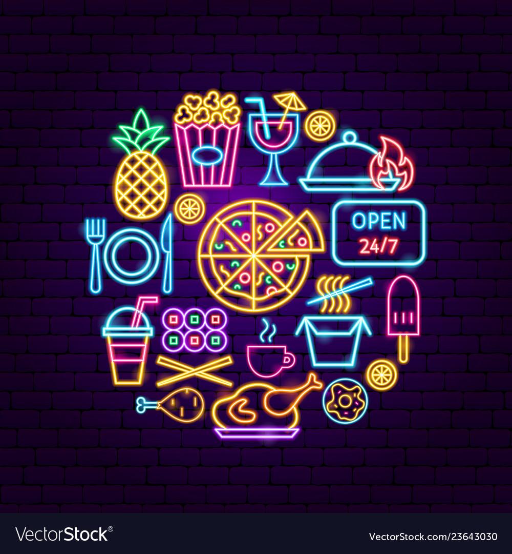 Fast food menu neon concept