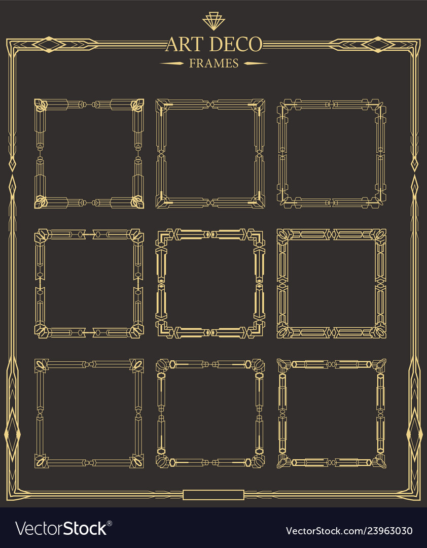 Frames set of art deco gold calligraphic page