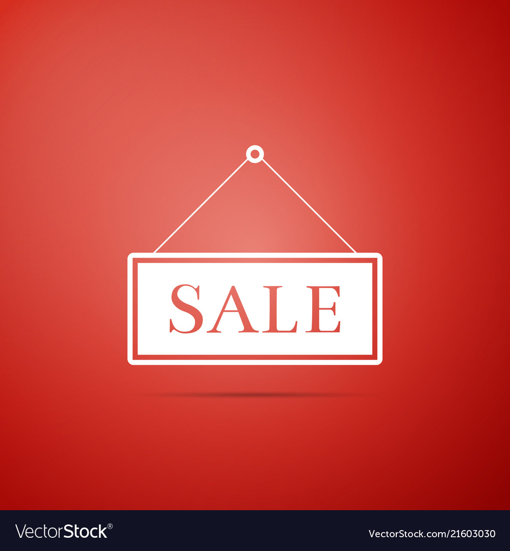 Hanging sign with text sale icon on red background