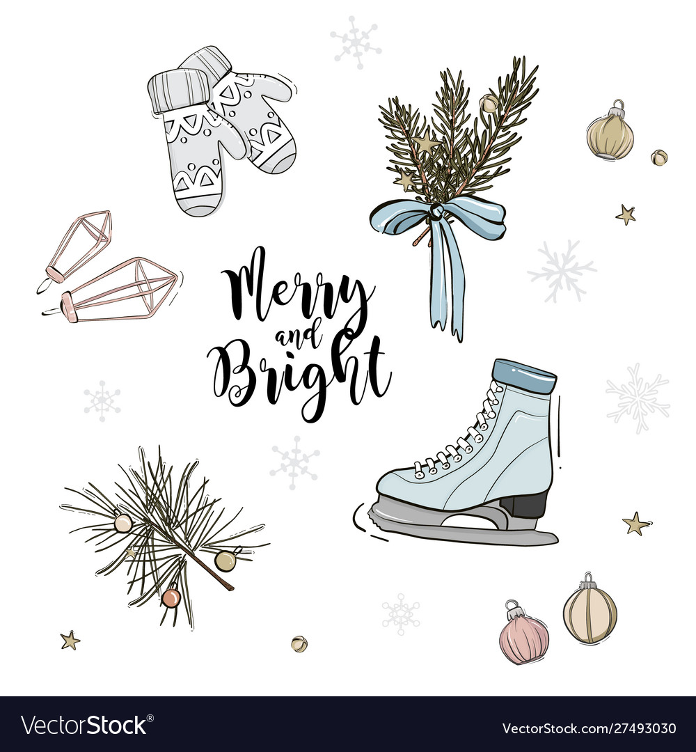 Holiday pattern decoration skate with fir branches