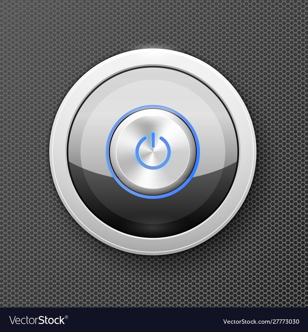 Illuminated power button icon - off-on knob metal