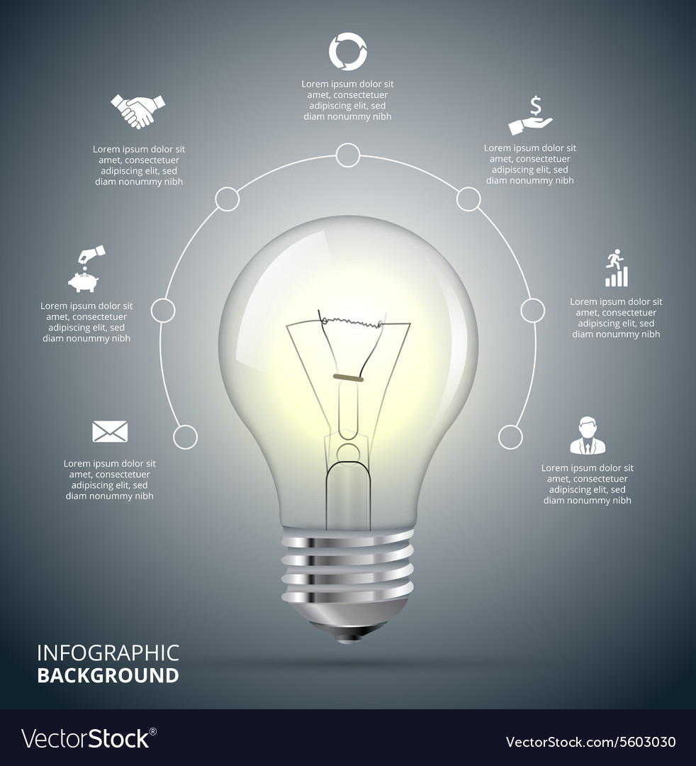 Light Bulb With Circle For Infographic Royalty Free Vector Incandescent Diagram Image