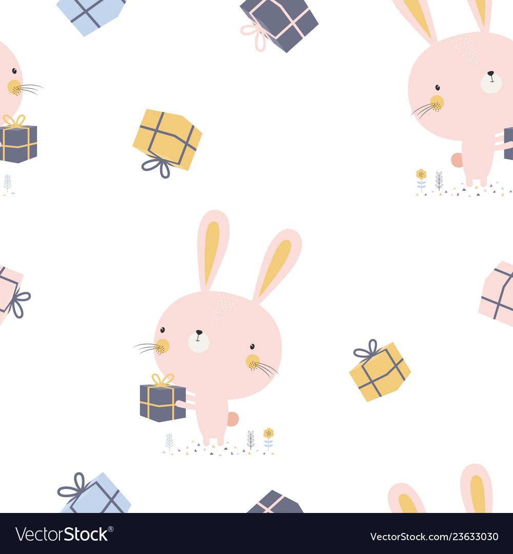 Pattern with cartoon bunny