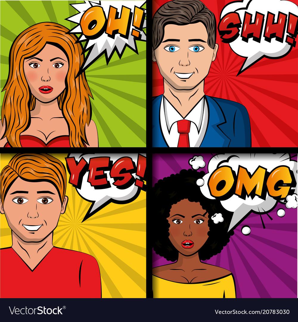 People pop art comic
